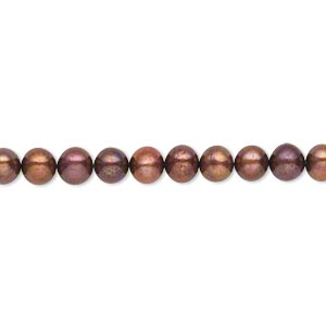pearl, cultured freshwater (dyed), copper rose, 4-5mm semi-round, c- grade, mohs hardness 2-1/2 to 4. sold per 16-inch strand.