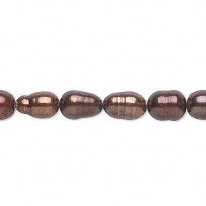 pearl, cultured freshwater (dyed), copper rose, 5-7mm rice, d+ grade, mohs hardness 2-1/2 to 4. sold per 14-inch strand.