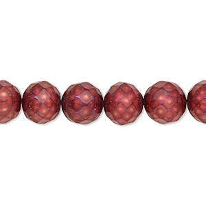 pearl, cultured freshwater (dyed), cranberry, 9-11mm faceted semi-round with 0.2-0.7mm hole, c grade, mohs hardness 2-1/2 to 4. sold per 16-inch strand.