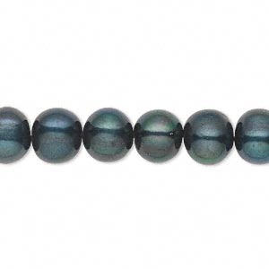 pearl, cultured freshwater (dyed), dark green, 8-10mm semi-round, c+ grade, mohs hardness 2-1/2 to 4. sold per 16-inch strand.