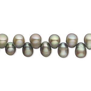 pearl, cultured freshwater (dyed), dove grey, 7x5mm-9x6mm top-drilled rice, c grade, mohs hardness 2-1/2 to 4. sold per 16-inch strand.