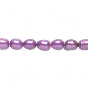 pearl, cultured freshwater (dyed), grape, 5-6mm rice, c- grade, mohs hardness 2-1/2 to 4. sold per 16-inch strand.