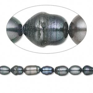 pearl, cultured freshwater (dyed), iris blue, 4-5mm rice, d- grade, mohs hardness 2-1/2 to 4. sold per 15-inch strand.