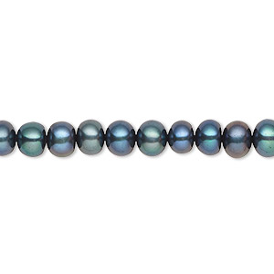 pearl, cultured freshwater (dyed), iris green, 5-6mm button, c grade, mohs hardness 2-1/2 to 4. sold per 16-inch strand.
