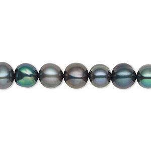 pearl, cultured freshwater (dyed), iris green, 7-8mm semi-round, c grade, mohs hardness 2-1/2 to 4. sold per 16-inch strand.
