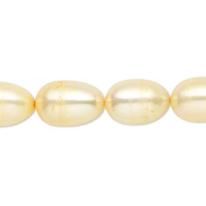 pearl, cultured freshwater (dyed), jonquil, 9-10mm rice, c grade, mohs hardness 2-1/2 to 4. sold per 16-inch strand.