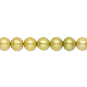 pearl, cultured freshwater (dyed), light olive green, 5-7mm semi-round, c+ grade, mohs hardness 2-1/2 to 4. sold per 16-inch strand.