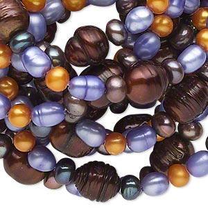 pearl, cultured freshwater (dyed), multicolored, 4-9mm semi-round / rice / button, d grade, mohs hardness 2-1/2 to 4. sold per 54-inch continuous loop.