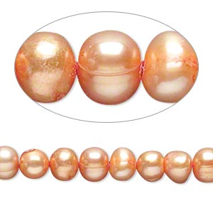 pearl, cultured freshwater (dyed), orange, 5-6mm semi-round, d grade, mohs hardness 2-1/2 to 4. sold per 16-inch strand.