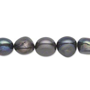pearl, cultured freshwater (dyed), peacock, 10-11mm flat-sided potato, d+ grade, mohs hardness 2-1/2 to 4. sold per 16-inch strand.