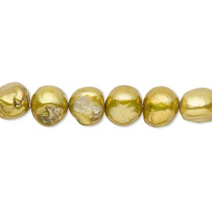pearl, cultured freshwater (dyed), pear green, 7-8mm flat-sided potato, d- grade, mohs hardness 2-1/2 to 4. sold per 15-inch strand.