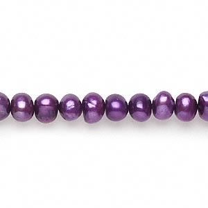 pearl, cultured freshwater (dyed), plum, 5-6mm semi-round, d+ grade, mohs hardness 2-1/2 to 4. sold per 16-inch strand.
