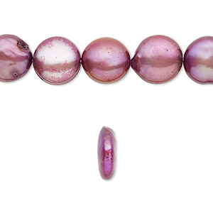 pearl, cultured freshwater (dyed), purple, 10-12mm flat round with 0.2-0.7mm hole, c- grade, mohs hardness 2-1/2 to 4. sold per 8-inch strand, approximately 15 beads.