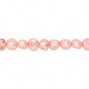 pearl, cultured freshwater (dyed), salmon, 5mm flat sided potato, d+ grade, mohs hardness 2-1/2 to 4. sold per 15-inch strand.