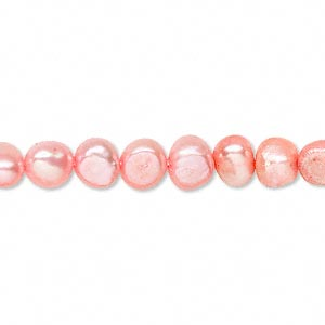 pearl, cultured freshwater (dyed), salmon, 6-7mm flat sided potato, d grade, mohs hardness 2-1/2 to 4. sold per 15-inch strand.