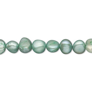 pearl, cultured freshwater (dyed), sea mist, 6-7mm flat-sided potato, d grade, mohs hardness 2-1/2 to 4. sold per 14-inch strand.