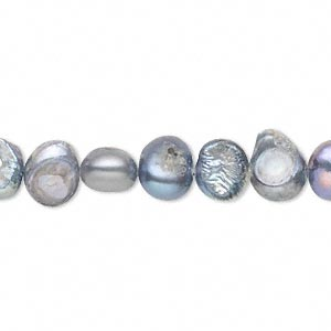 pearl, cultured freshwater (dyed), silver peacock, 7-8mm flat-sided potato, d grade, mohs hardness 2-1/2 to 4. sold per 16-inch strand.
