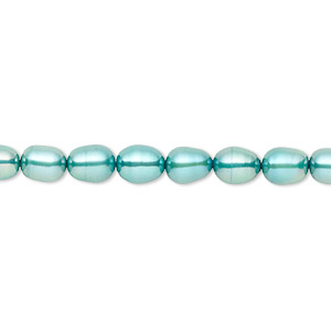 pearl, cultured freshwater (dyed), teal, 5-6mm rice, c+ grade, mohs hardness 2-1/2 to 4. sold per 16-inch strand.