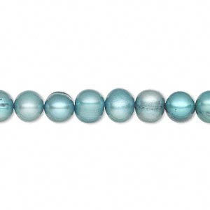 pearl, cultured freshwater (dyed), teal, 6-7mm semi-round, d grade, mohs hardness 2-1/2 to 4. sold per 16-inch strand.