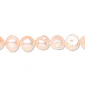 pearl, cultured freshwater, peach, 7-8mm flat-sided potato, d grade, mohs hardness 2-1/2 to 4. sold per 16-inch strand. minimum 2 per order.