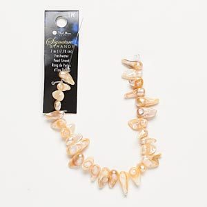 pearl, cultured freshwater, peach patina, 14x7mm baroque, mohs hardness 2-1/2 to 4. sold per 7-inch strand.