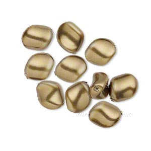 pearl, swarovski crystal, antique brass, 9x8mm curved (5826). sold per pkg of 10.