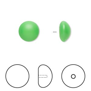 pearl, swarovski crystal cabochon, neon green, 10mm half-drilled round (5817). sold per pkg of 250.