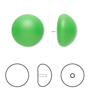 pearl, swarovski crystal cabochon, neon green, 16mm half-drilled round (5817). sold per pkg of 100.