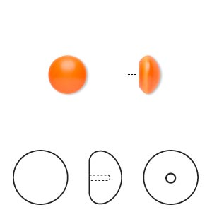 pearl, swarovski crystal cabochon, neon orange, 8mm half-drilled round (5817). sold per pkg of 2.
