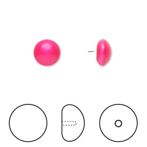 pearl, swarovski crystal cabochon, neon pink, 8mm half-drilled round (5817). sold per pkg of 50.
