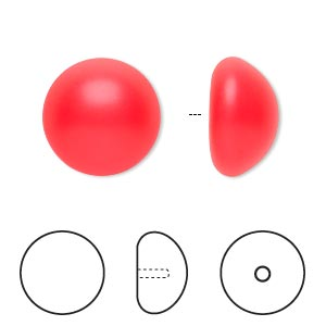 pearl, swarovski crystal cabochon, neon red, 16mm half-drilled round (5817). sold per pkg of 100.