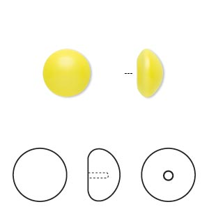 pearl, swarovski crystal cabochon, neon yellow, 10mm half-drilled round (5817). sold per pkg of 50.
