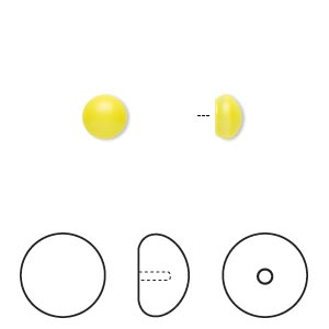 pearl, swarovski crystal cabochon, neon yellow, 6mm half-drilled round (5817). sold per pkg of 2.