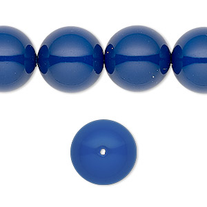 pearl, swarovski crystal gemcolors, dark lapis, 14mm round with 1.3-1.5mm hole (5811). sold per pkg of 50.