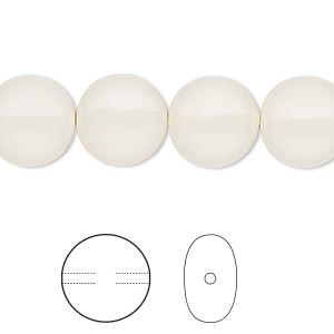pearl, swarovski crystal gemcolors, ivory, 12mm coin (5860). sold per pkg of 100.