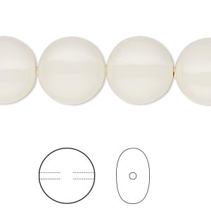 pearl, swarovski crystal gemcolors, ivory, 14mm coin (5860). sold per pkg of 10.