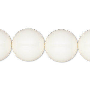 pearl, swarovski crystal gemcolors, ivory, 16mm round with 1.3-1.5mm hole (5811). sold per pkg of 5.