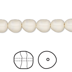 pearl, swarovski crystal gemcolors, ivory, 8mm baroque (5840). sold per pkg of 10.