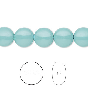 pearl, swarovski crystal gemcolors, jade, 10mm coin (5860). sold per pkg of 10.