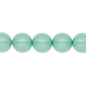 pearl, swarovski crystal gemcolors, jade, 10mm round (5810). sold per pkg of 25.