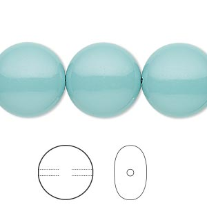 pearl, swarovski crystal gemcolors, jade, 16mm coin (5860). sold per pkg of 25.