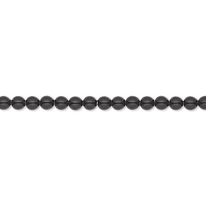 pearl, swarovski crystal gemcolors, mystic black, 3mm round (5810). sold per pkg of 100.
