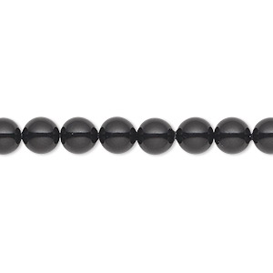 pearl, swarovski crystal gemcolors, mystic black, 6mm round (5810). sold per pkg of 500.