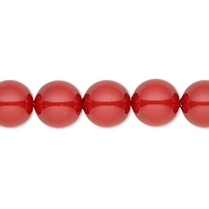 pearl, swarovski crystal gemcolors, red coral, 10mm round with 1.3-1.5mm hole (5811). sold per pkg of 25.
