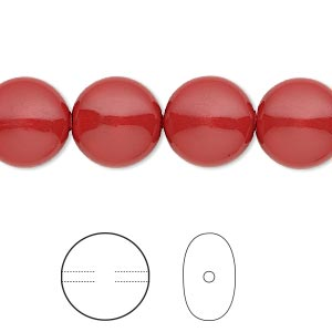 pearl, swarovski crystal gemcolors, red coral, 12mm coin (5860). sold per pkg of 10.