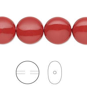 pearl, swarovski crystal gemcolors, red coral, 14mm coin (5860). sold per pkg of 10.