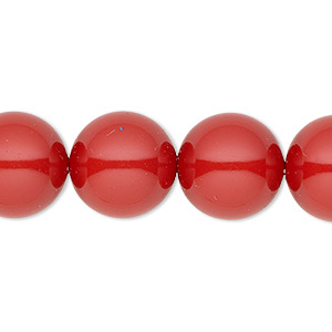 pearl, swarovski crystal gemcolors, red coral, 14mm round with 1.3-1.5mm hole (5811). sold per pkg of 50.