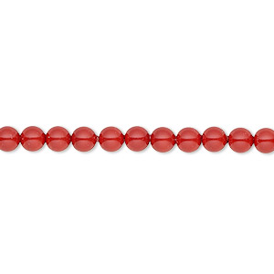 pearl, swarovski crystal gemcolors, red coral, 4mm round (5810). sold per pkg of 100.