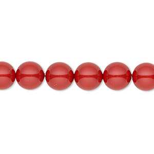 pearl, swarovski crystal gemcolors, red coral, 8mm round (5810). sold per pkg of 250.