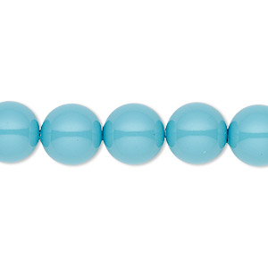 pearl, swarovski crystal gemcolors, turquoise, 10mm round with 1.3-1.5mm hole (5811). sold per pkg of 100.